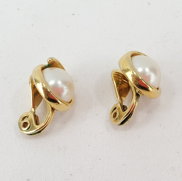 Vintage Gold Tone Faux Pearl Monet Clip Earrings